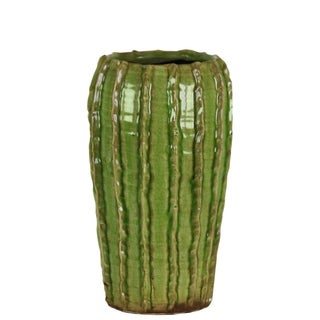 UTC51608: Ceramic Tall Round Vase with Stripes Patter Design Body and Tapered Bottom SM Gloss Finish Green