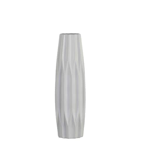 UTC53013: Ceramic Patterned Bellied Round Vase with Embossed Diamond Design Body and Tapered Bottom SM Matte Finish White
