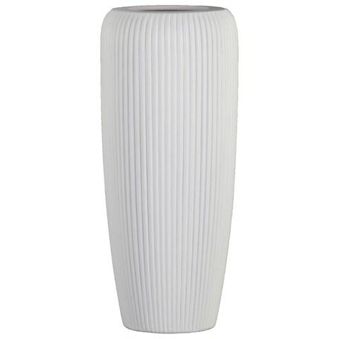 UTC53000: Ceramic Tall Cylinder Vase with Ribbed Design Body and Tapered Bottom LG Matte Finish White