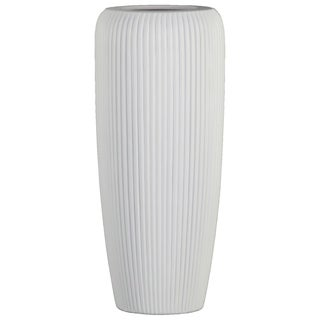 UTC53000: Ceramic Tall Cylinder Vase with Ribbed Design Body and Tapered Bottom LG Matte Finish White