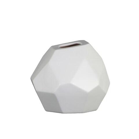UTC53025: Ceramic Patterned Irregular Round Vase with Tapered Bottom SM Matte Finish White