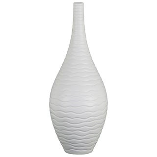 UTC53031: Ceramic Bottle Vase with Ribbed Desin Body and Tapered Bottom LG Matte Finish White