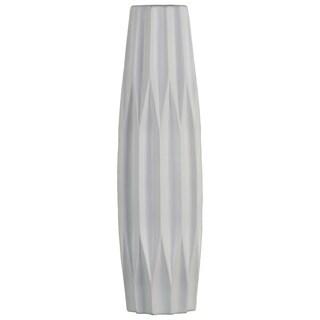 UTC53012: Ceramic Patterned Bellied Round Vase with Embossed Diamond Design Body and Tapered Bottom LG Matte Finish White