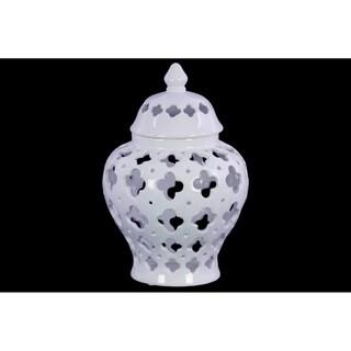 UTC21282: Ceramic Urn Vase with Cutout Quatrefoil Design Body and Tapered Bottom LG Coated Finish White