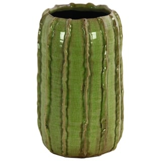 UTC51606: Ceramic Tall Round Vase with Stripes Pattern Design Body LG Gloss Finish Green