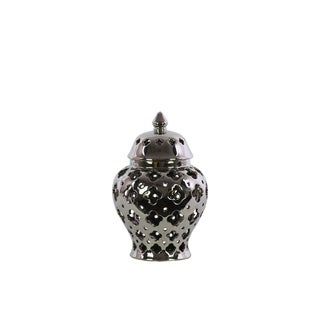 UTC21279: Ceramic Urn Vase with Cutout Quatrefoil Design Body and Tapered Bottom SM Polished Chrome Finish Silver
