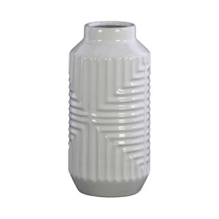Urban Trends Ceramic Tall Cylindrical Vase with Interesecting Lines Design Body in Gloss Finish - White - N/A