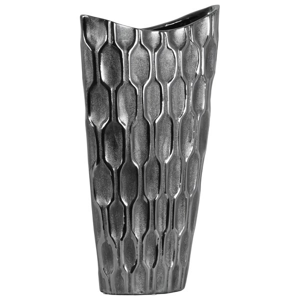 UTC46517: Ceramic Oval Vase with Embossed Honeycomb Design Body and Tapered Bottom LG Metallic Finish Silver