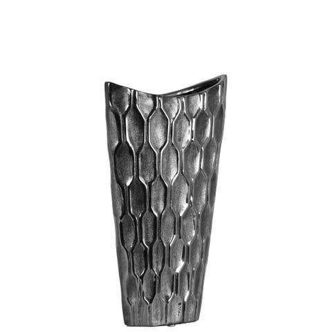 Urban Trends Ceramic Oval Vase with Embossed Honeycomb Design Body and Tapered Bottom in Metallic Finish, Small - Silver
