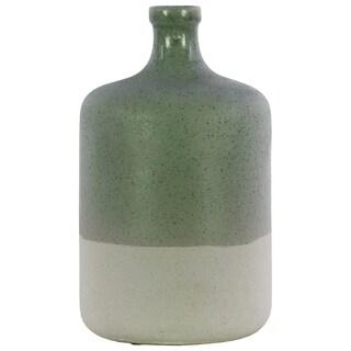 UTC51202: Ceramic Round Vase with Narrow Mouth, Short Neck and White Banded Rim Bottom LG Gloss Finish Fern Green
