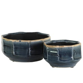 UTC51610: Ceramic Irregular Vase with Rust Banded Rim Top and Tapered Bottom Set of Two Gloss Finish Blue