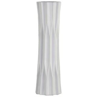 UTC53010: Ceramic Patterned Round Vase with Embossed Diamond Design Body and Flared Bottom LG Matte Finish White