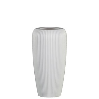 UTC53001: Ceramic Tall Cylinder Vase with Ribbed Design Body and Tapered Bottom MD Matte Finish White