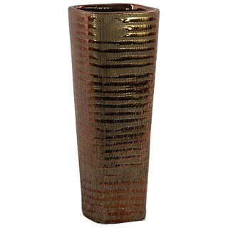 UTC51706: Ceramic Tall Square Vase with Ribbed Design Body and Tapered Bottom Distressed Finish Copper