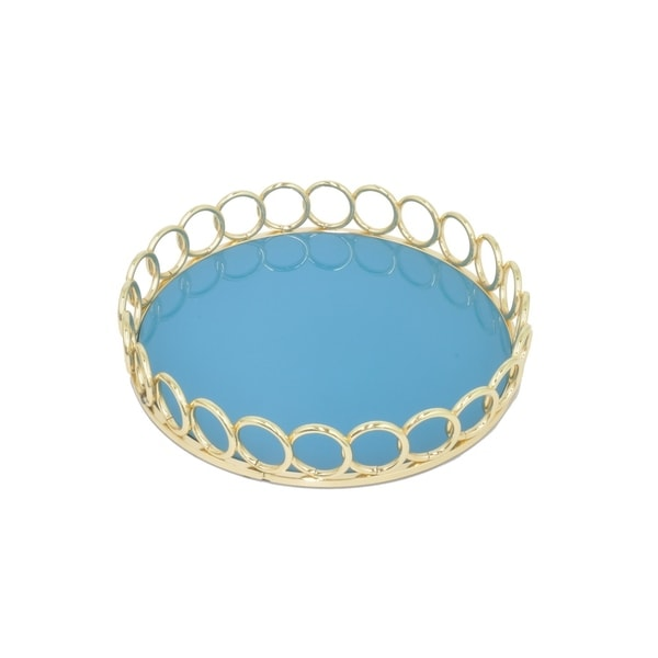 Metal Tray W/Mirror- Gold