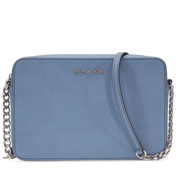 20210af5af03 MICHAEL Michael Kors, Jet Set Travel Large Saffiano Leather Crossbody, Blue