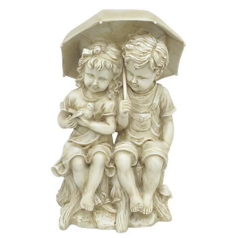 Boy And Girl Under Umbrella