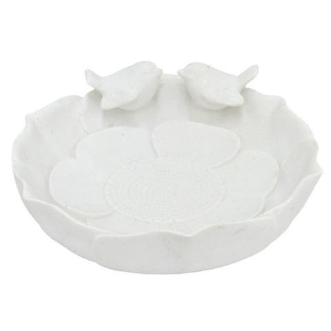 Resin Bird Feeder Dish - White