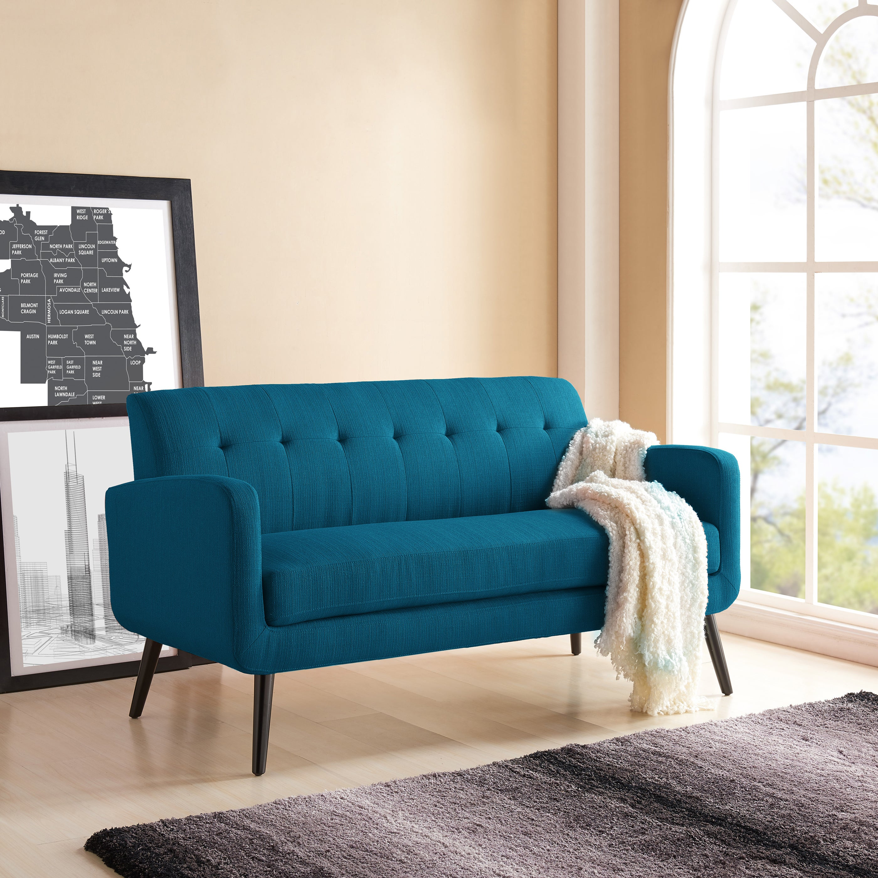 Handy Living Kingston Mid Century Modern Peacock Blue Linen Sofa Overstock 17878815