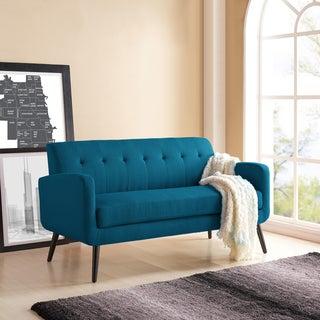 Handy Living Kingston Mid Century Modern Peacock Blue Linen Sofa