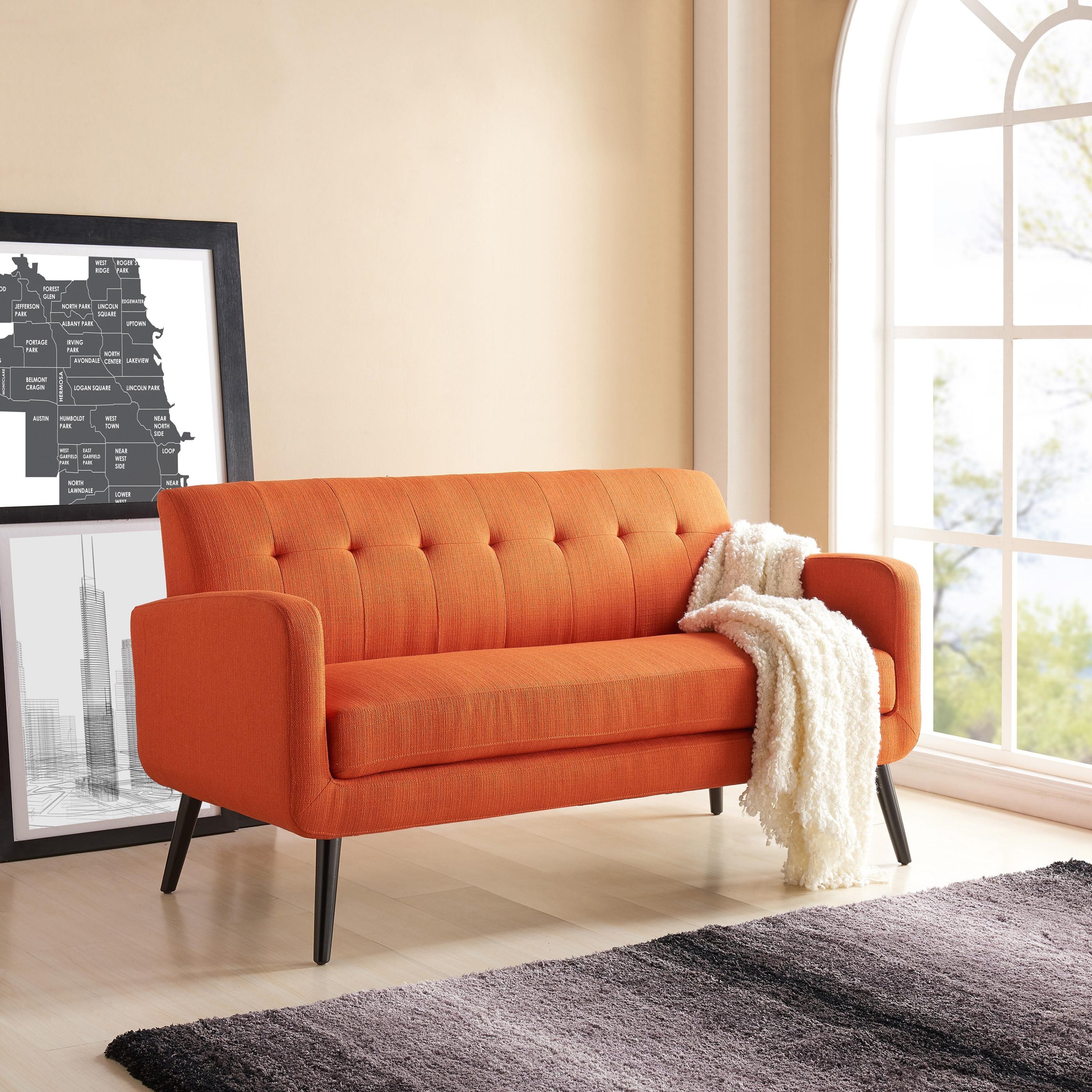 Orange Mid Century Sofa: Handy Living Kingston Mid Century Modern Orange Linen Sofa