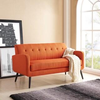 Handy Living Kingston Mid Century Modern Orange Linen Sofa