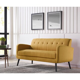 Handy Living Kingston Mid Century Modern Mustard Yellow Linen Sofa