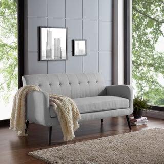 Handy Living Kingston Grey Upholstery Mid-Century Modern Dove Sofa