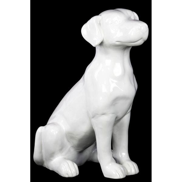 Urban Trends Ceramic Sitting Polish Hound Dog Figurine in Gloss Finish - White - N/A