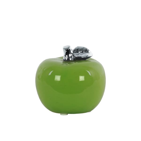 Urban Trends Ceramic Apple Figurine with Silver Leaf in Glaze Finish, Small - Green - N/A
