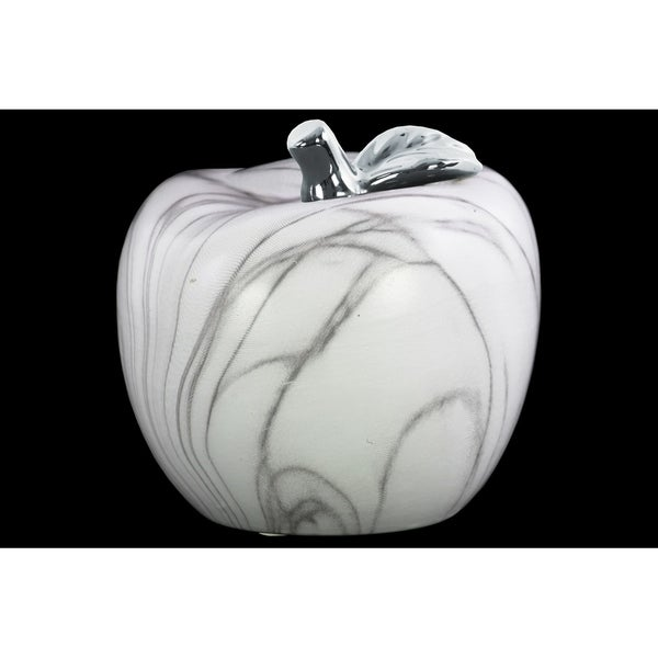 Urban Trends Ceramic Apple Figurine with Silver Leaf and Gray Streaks in Marbleized Finish, Large - White - N/A