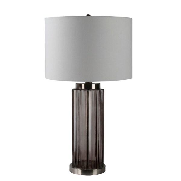 Glass Table Lamp - Smoke Ribbed