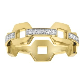 Eternity Band Ring in 10K Yellow Gold and 1/4 carat White Diamonds - White H-I