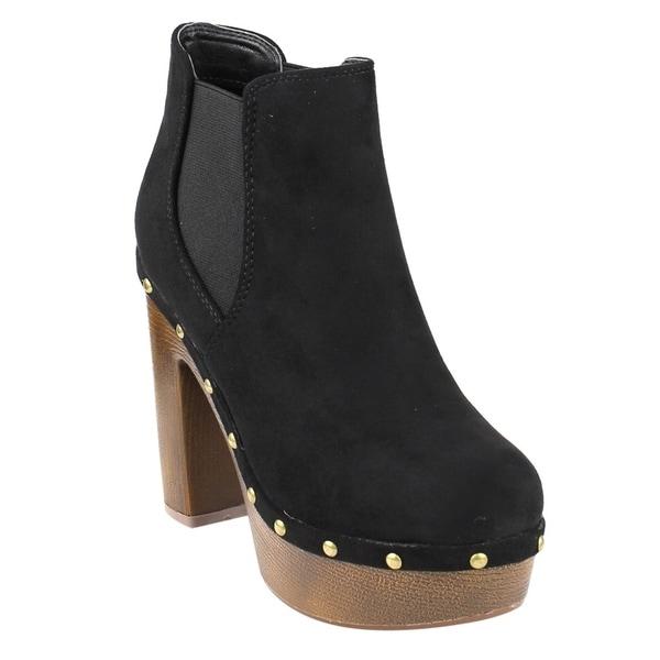 FM40 Women's Platform Metallic Studded Chunky Heel Chelsea Ankle Booties