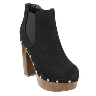 Beston FM40 Women's Platform Metallic Studded Chunky Heel Chelsea Ankle Booties