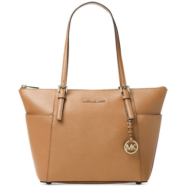 87baafcfe1d5 Michael Kors Jet Set Top-Zip Saffiano Leather - Tote - Acorn - 30F2GTTT8L-