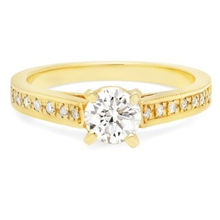 LeZari & Co. 0.85ct TDW Classic 4 prong cathedral and pave set diamond engagement ring in fine 14K gold.