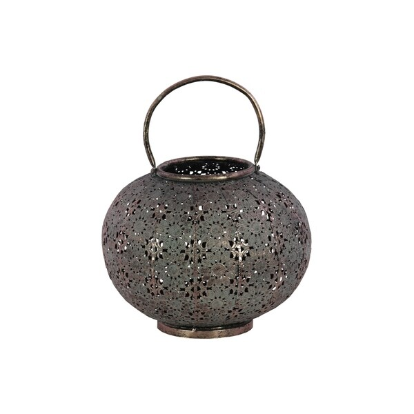 Urban Trends Metal Low Round Lantern with Floral Pierced Metal Design Body and Handle in Metallic Finish, Large - Pewter - N/A