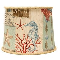 Somette Nautical Patchwork 14 inch Drum Lamp Shade with Washer