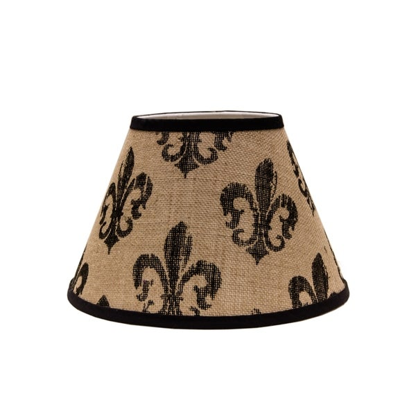 Somette Black Fleur De Lis Burlap 12 inch Empire Lamp Shade with Washer