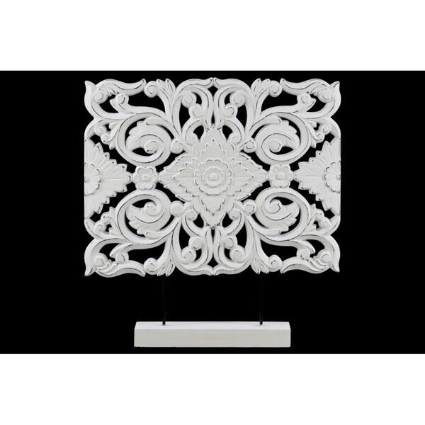 UTC43414 Wood Ornament Matte Finish White