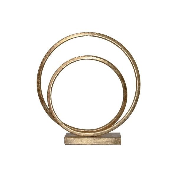 Metal Spiral Sculpture on Base, Metallic Gold Finish