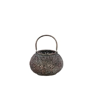 Urban Trends Metal Low Round Lantern with Floral Pierced Metal Design Body and Handle in Metallic Finish, Small - Pewter - N/A