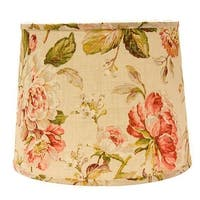 Somette Large Rose Floral 12 inch Drum Lamp Shade with Washer