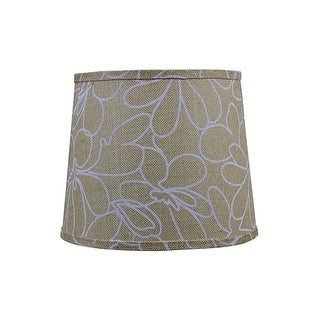 Somette White Floral Print 12 inch Drum Lamp Shade with Uno