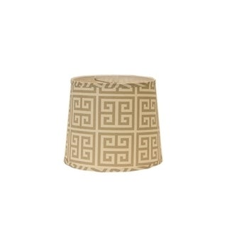 Somette Taupe and Natural Greek Key 12 inch Drum Lamp Shade with Washer