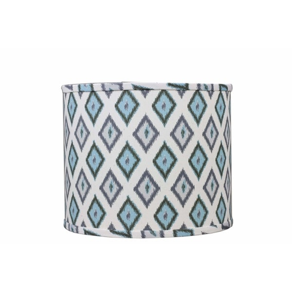 Somette Aqua And Grey Diamonds 16 inch Drum Lamp Shade with Uno