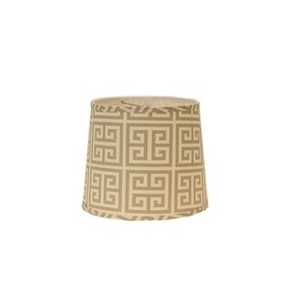 Somette Taupe and Natural Greek Key 14 inch Drum Lamp Shade with Washer