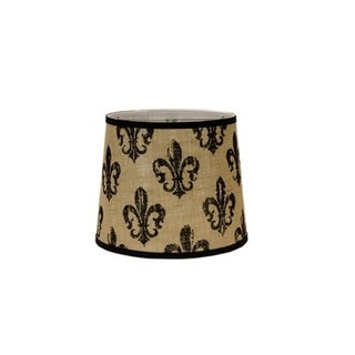 Somette Black Fleur De Lis Burlap 12 inch Drum Lamp Shade with Washer