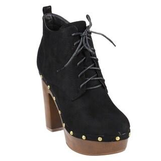 Beston FM41 Women's Platform Side Zip Block Heel Ankle High Top Combat Booties